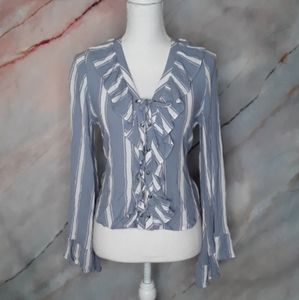 AEO Blue Striped Lace Up Ruffle Cropped Blouse